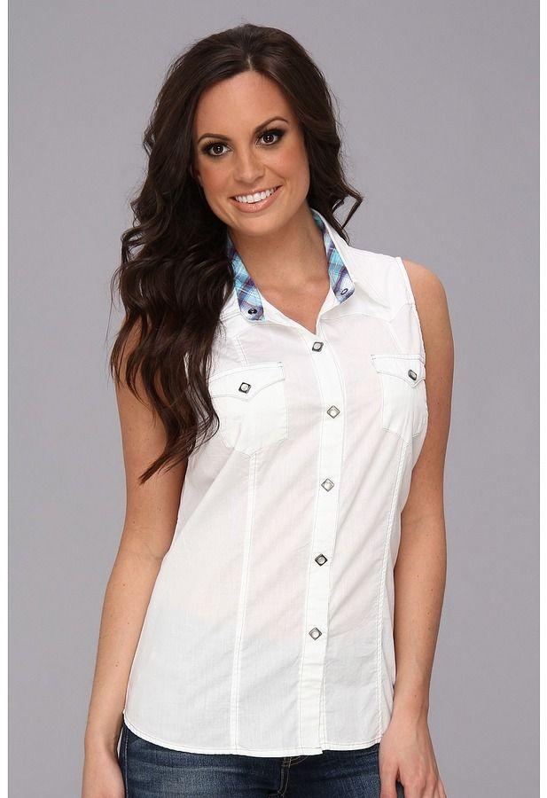 Roper 9055C1 Solid Poplin - White Women's Sleeveless on shopstyle.com