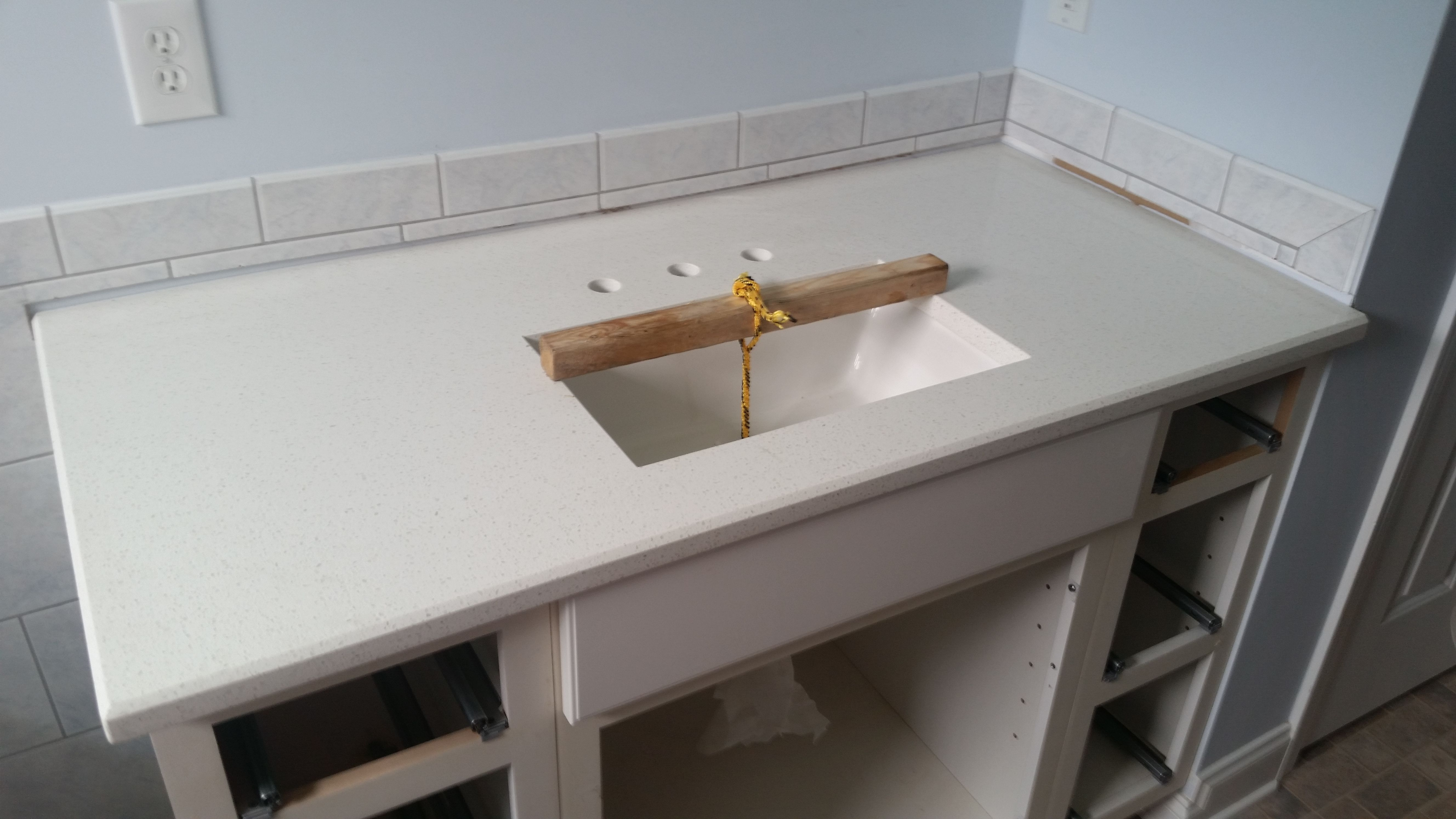 celeste lg quartz bathroom vanity install for the breeden family knoxvilles stone interiors showroom