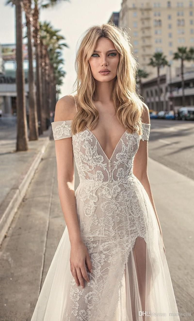 Berta Mermaid Lace Wedding Dresses Spaghetti Straps V Neck Backless Bridal Gown