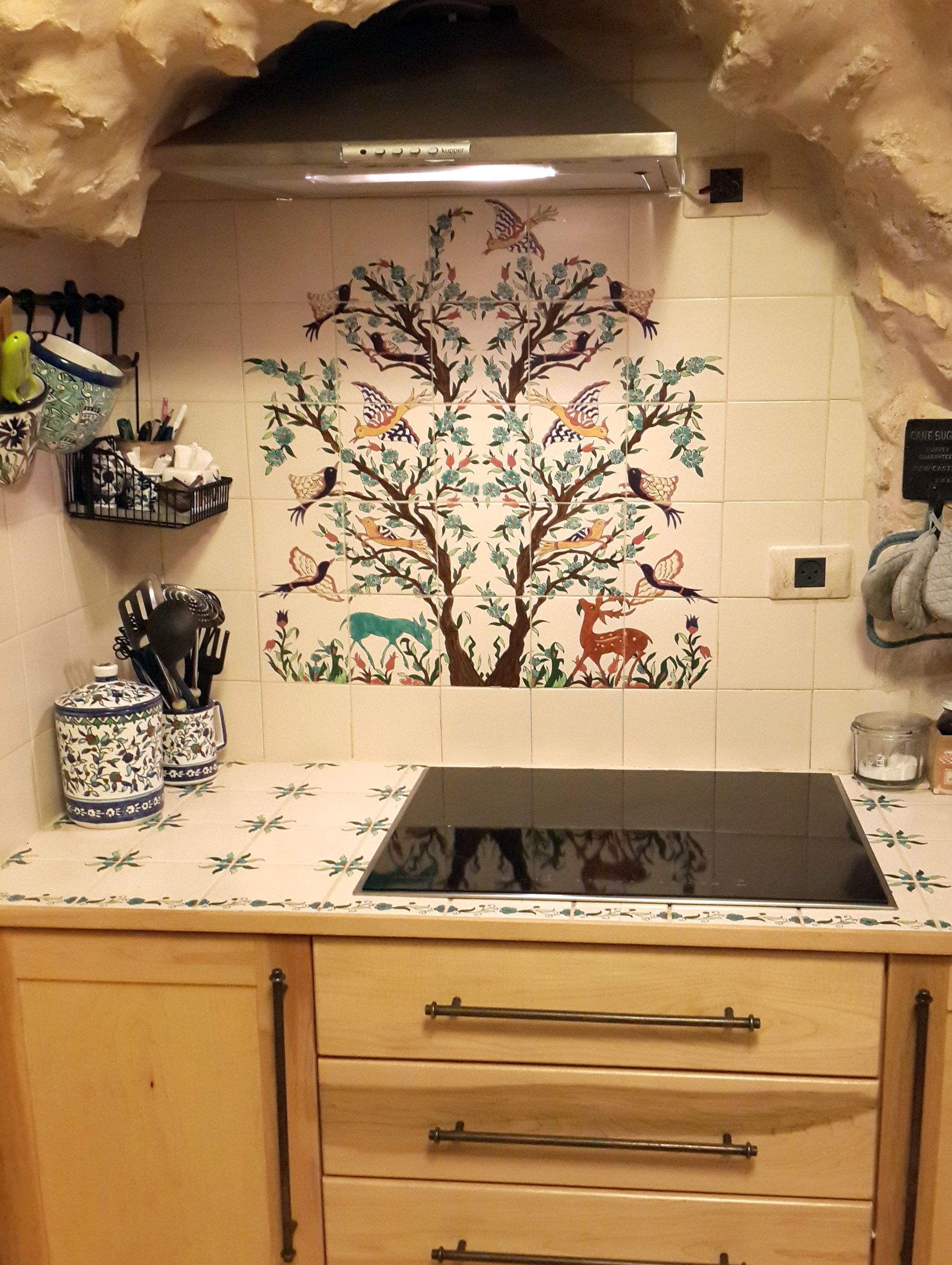 Hand Painted Ceramic Tile Mural Used As A Kitchen Backsplash Tile
