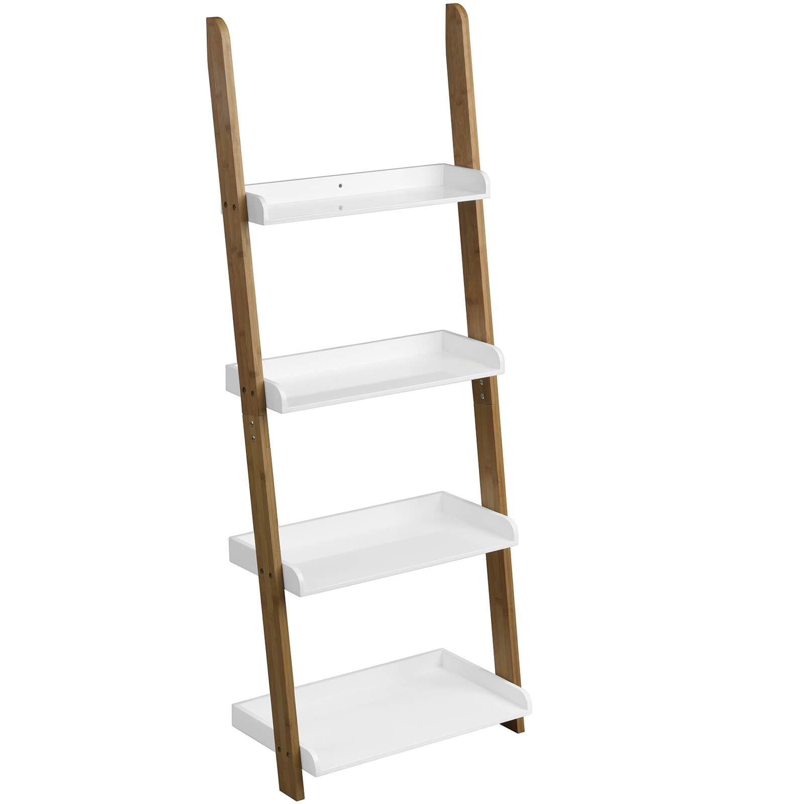 Fifty five south nostra bamboo shelf ladder unit white high gloss