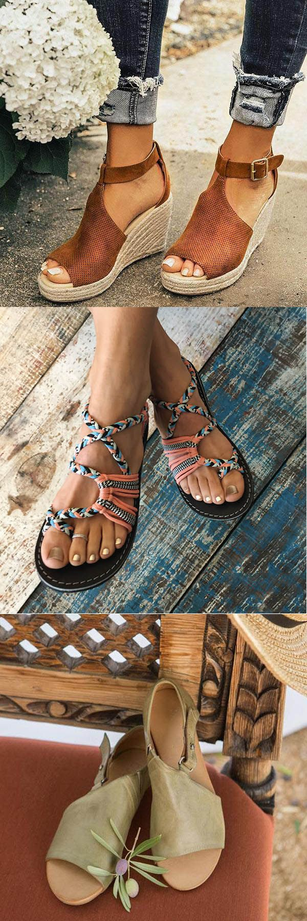spring summer sandals,Women Chic Espadrille Wedges Sandals with Adjustable Buckle -   20 fall crafts tree