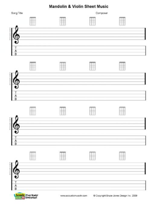 Free PDF Guitar, Mandolin, and Ukulele Chord and Music Charts - blank sheet of paper with lines
