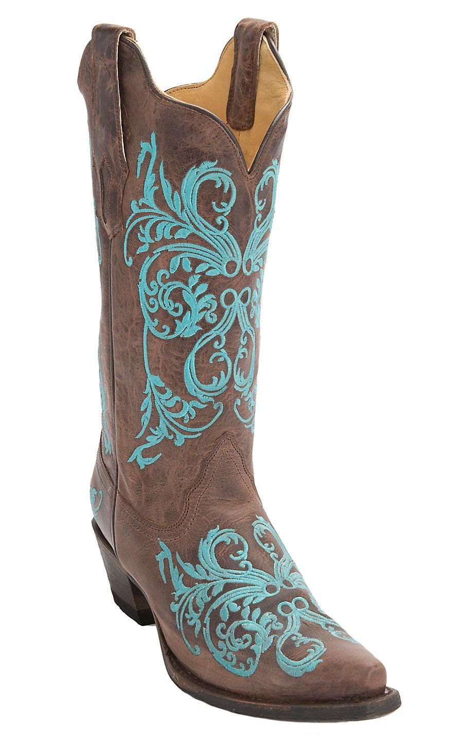 corral s brown maddog w turquoise embroidery snip