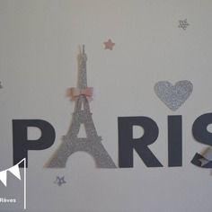 Stickers paris toiles noeuds gris rose poudr et argent for Stickers chambre bebe fille