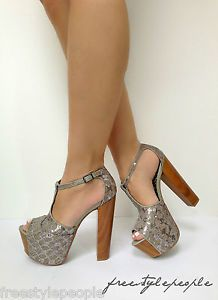 6b2be8ab4e5 New JESSICA SIMPSON Pewter DANY Grey Sequin T-STRAP Platform Heels ...