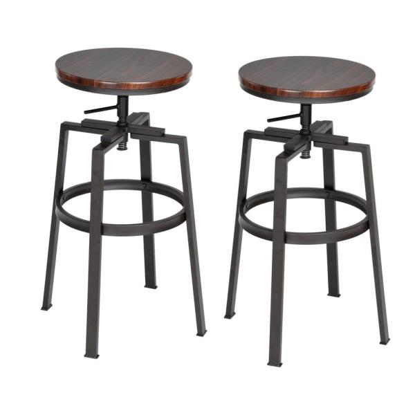 Furniturer Amat 24 28 9 In Walnut Color Industrial Style Bar Stool Set Of 2 Amat Walnut Jm The Home Depot In 2020 Bar Stools Swivel Bar Stools Wooden Bar Stools