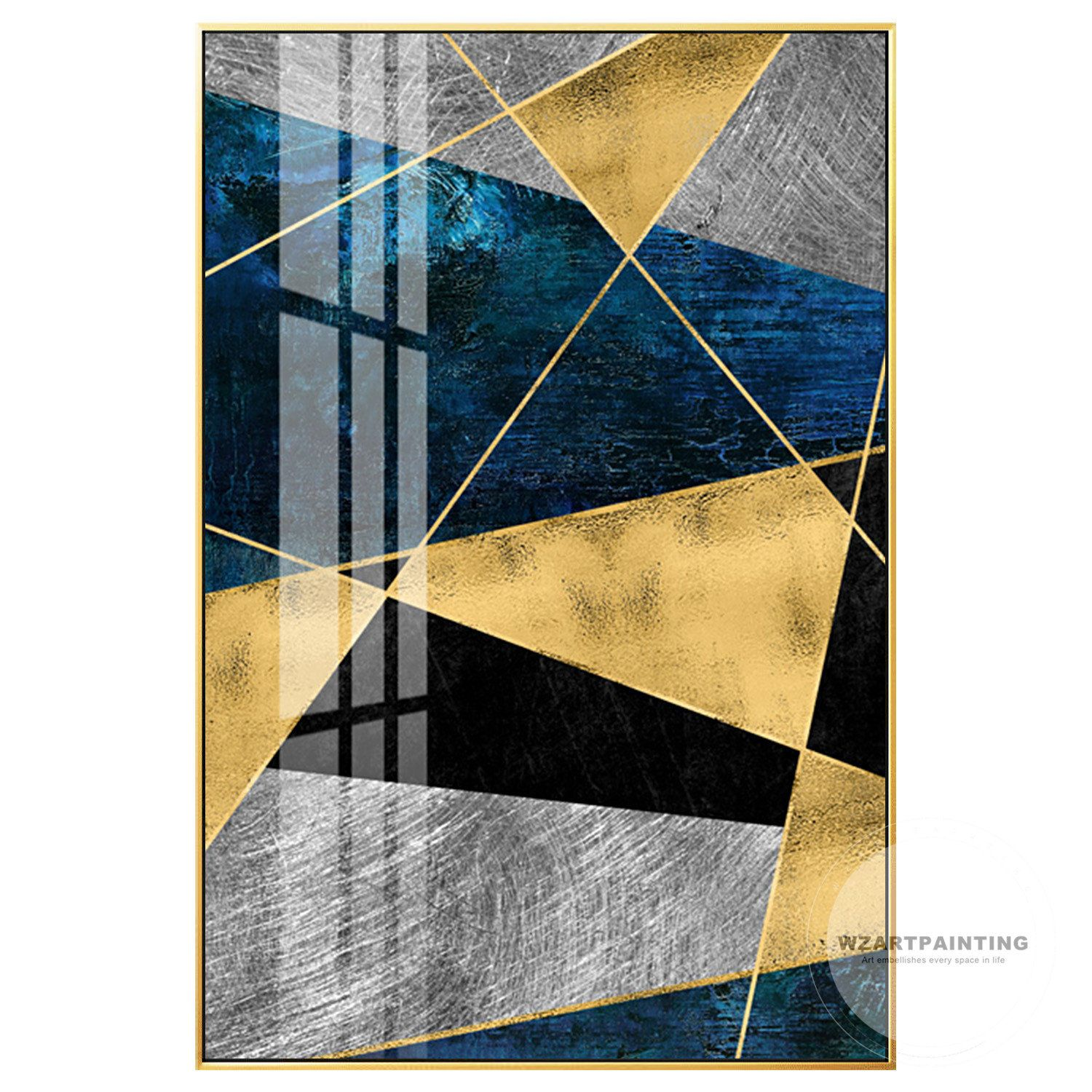 Geometric Abstract Gold Navy Blue Polygon Print Painting Prints On Canvas Luxury Wall Art Picture Ready To Abstract Canvas Wall Art Wall Art Pictures Abstract