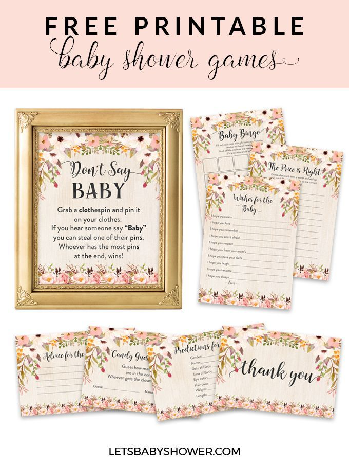 Free Printable Baby Shower Games For Girls Baby Shower Ideas