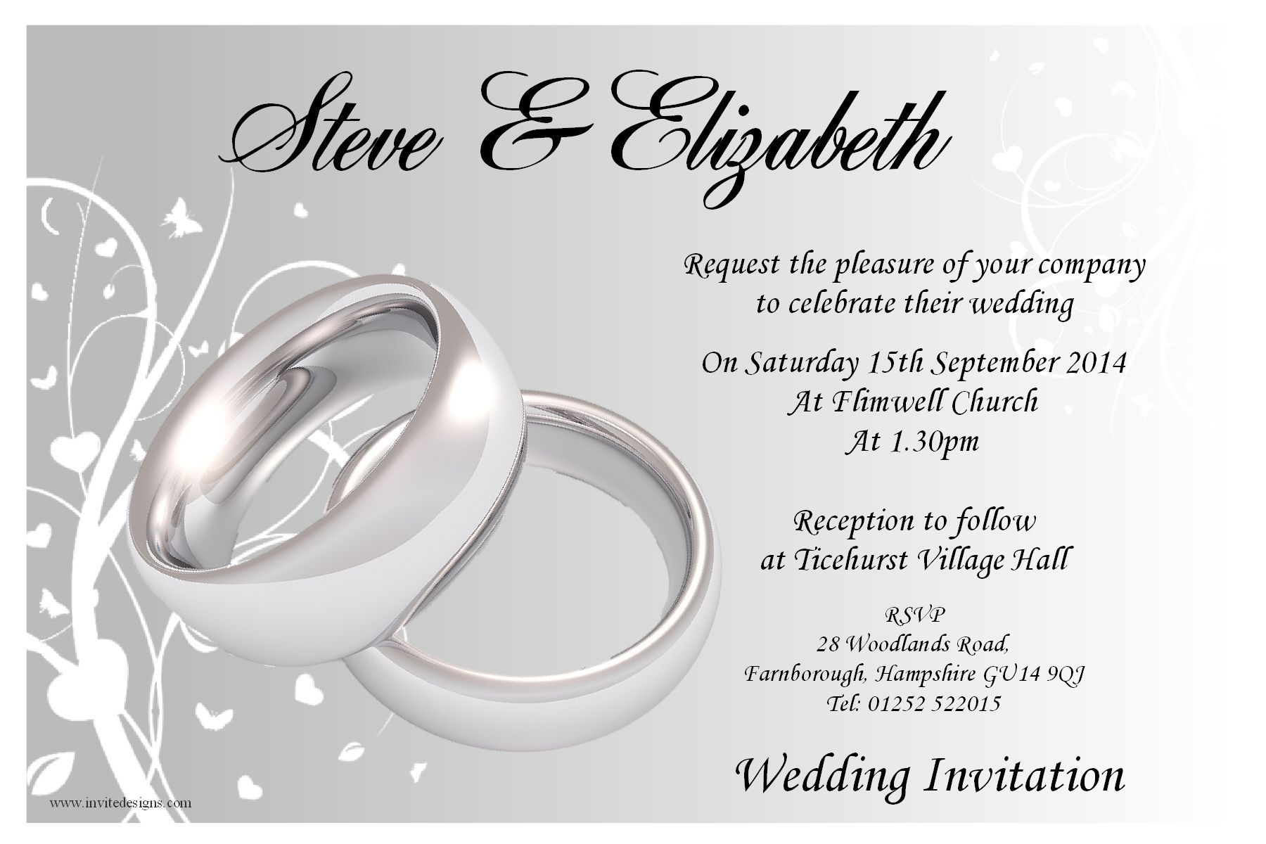 10 Personalised Wedding Invitations With Silver Rings Printed Onto Glossy Photographic Stock Free White Self Seal Envelopes Included