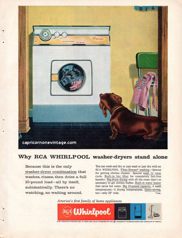 Vintage 1959 Whirpool Washer Dryer Magazine Ad Kitsch 1950s
