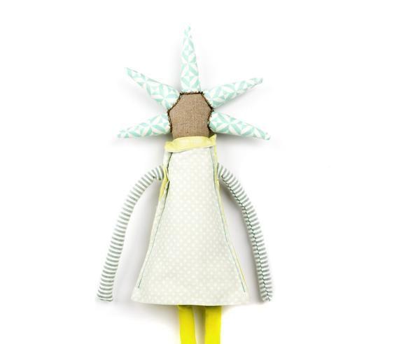 Handmade gift, Nursery décor, Fabric doll, Stuffed doll, Rag dolls, Cloth dolls, Modern doll, First