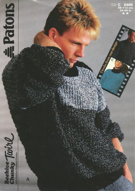 Vintage Knitting Pattern Patons Chunky Beehive Twirl Mens Jumper