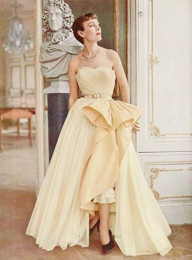 Model wearing evening gown by Robert Piquet, 1950s | 1950\'s Fashions ...