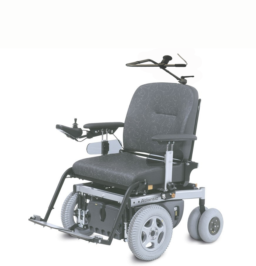 The chin control configuration uses our mini wheelchair