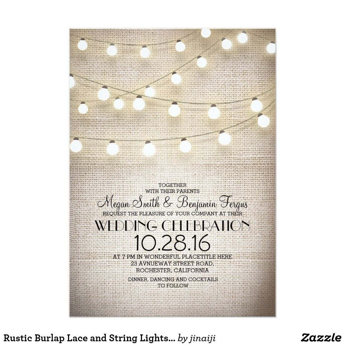 Rustic country burlap string lights lace wedding card - Rustic Burlap Lace And String Lights Wedding Card Charming Rustic Country Wedding Invitation With Vintage Burlap