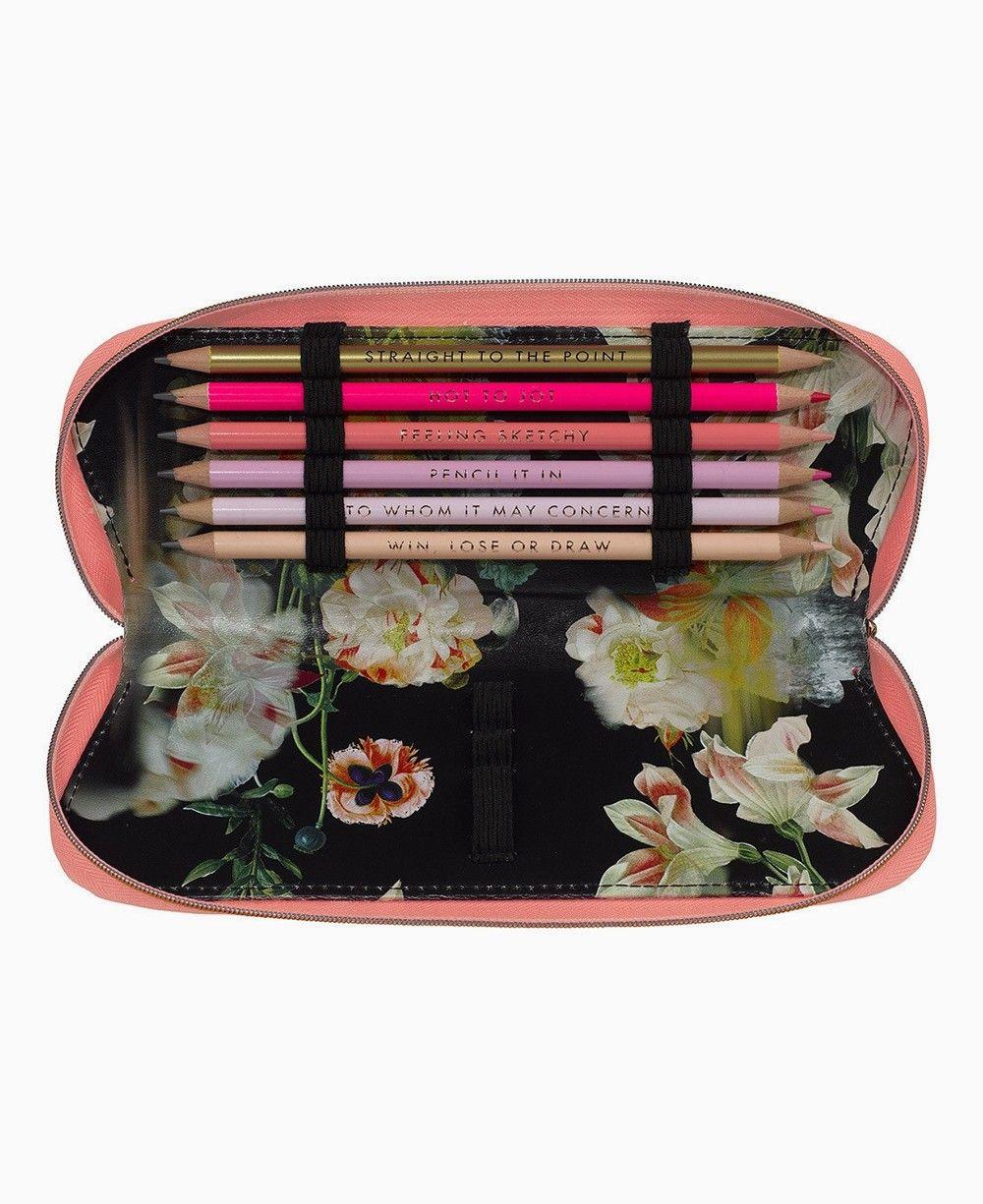 Zip Mini Wallet Floral,Colorful Flowers Sketchy,Canvas Pencil Pen Case