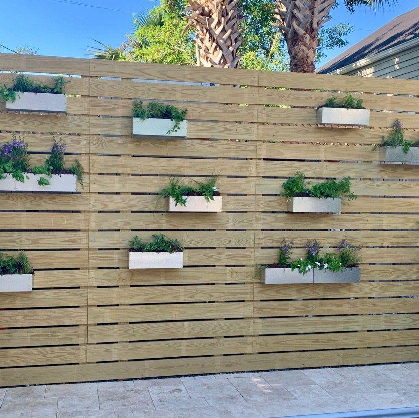 Galvanized Metal Hanging Planter Box/ Horizontal Fence | Etsy