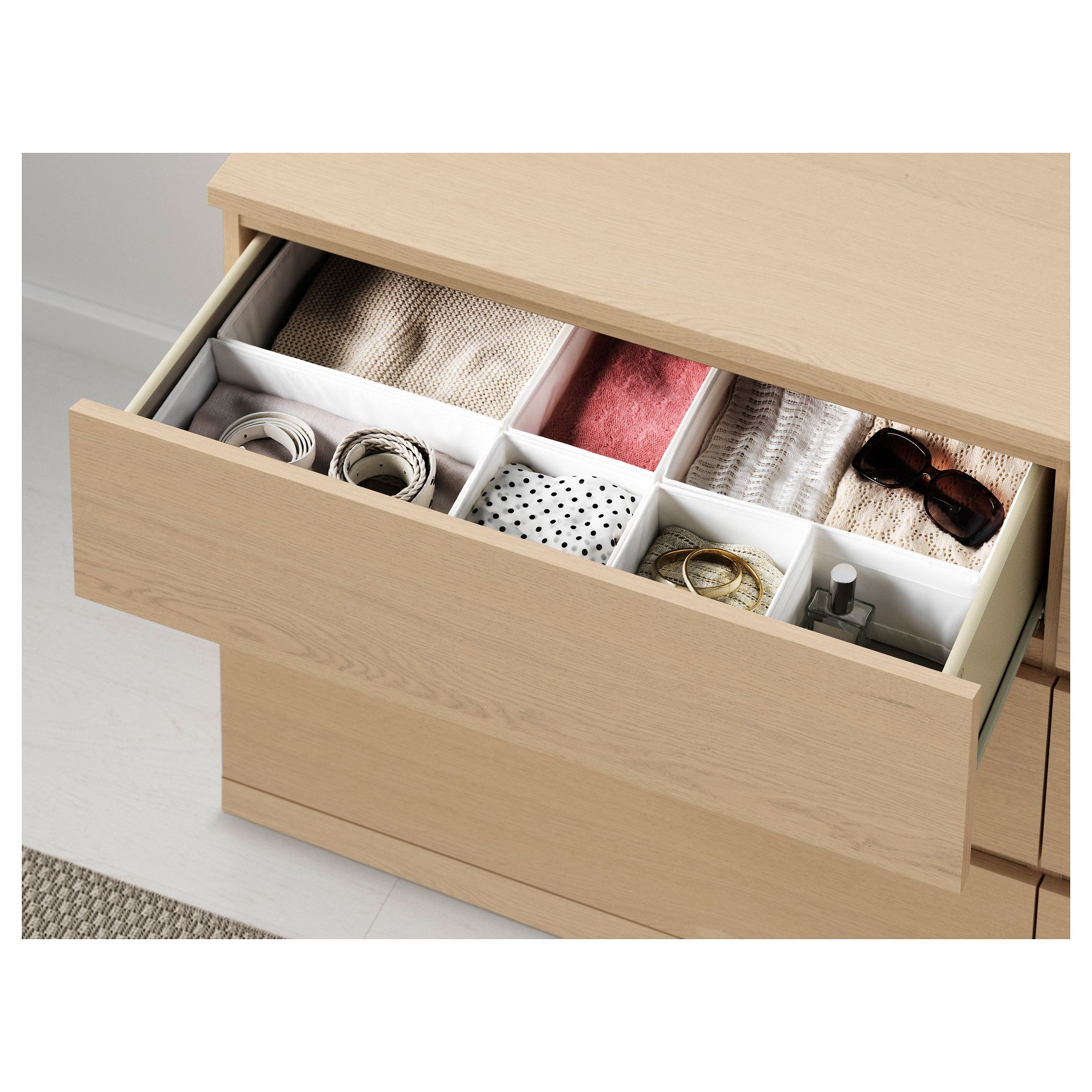Ikea Malm 6 Drawer Dresser White Stained Oak Veneer In 2019
