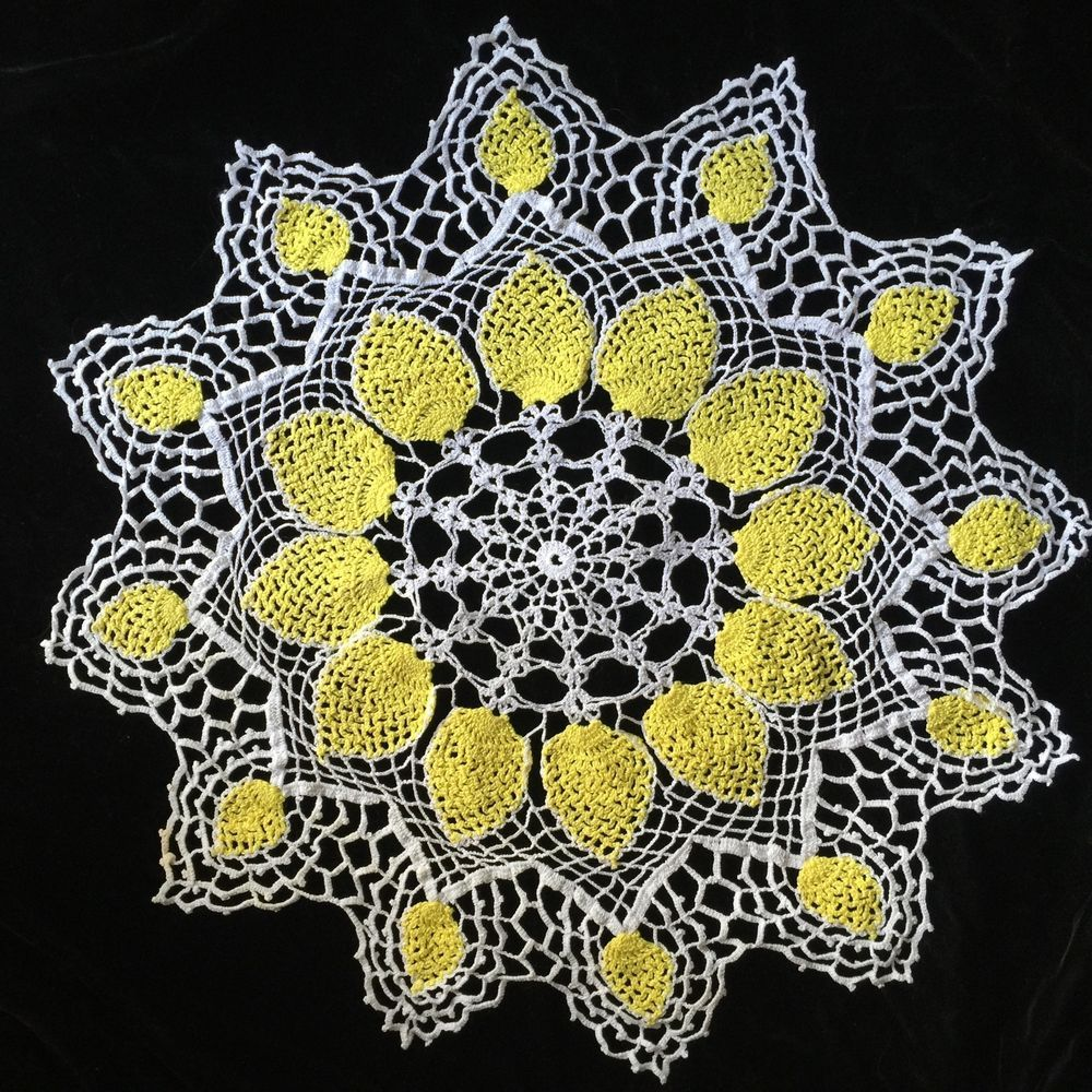 Vintage Hand Crocheted Large Doily Pineapple Yellow Ivory Scalloped Edge Pretty