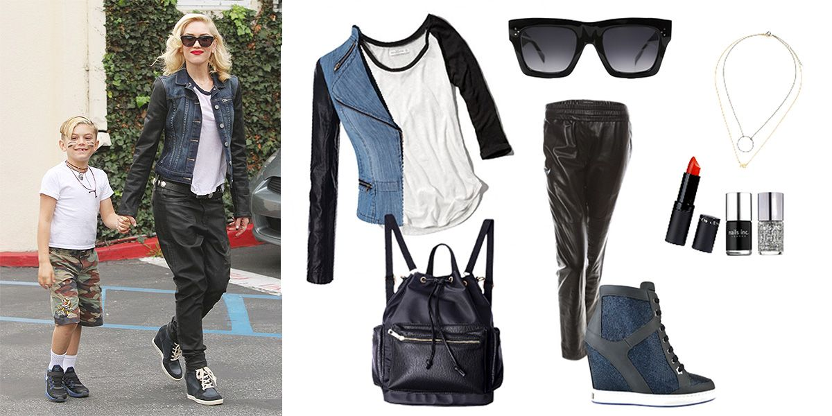 Gwen Stefani rocks a raglan t-shirt with leather pants. We love her wedge sneakers, black sunnies, and simple layered necklaces. You can easily recreate her look with items from your own closet! #streetstyle #fashion #nodoubt #music