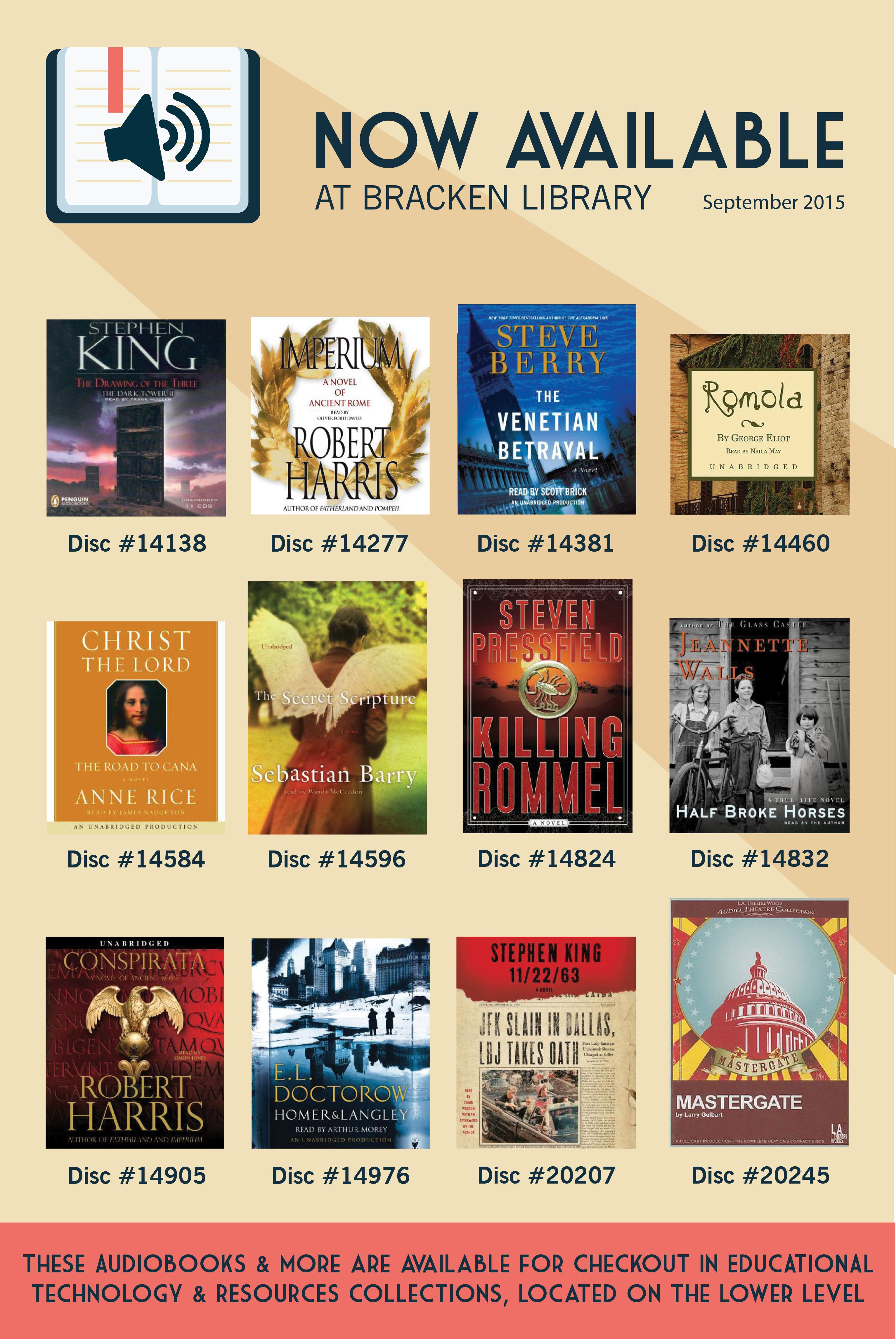 Audiobooks That Are Now Available At Bracken Library September 2015 Ball State University Library Health Science