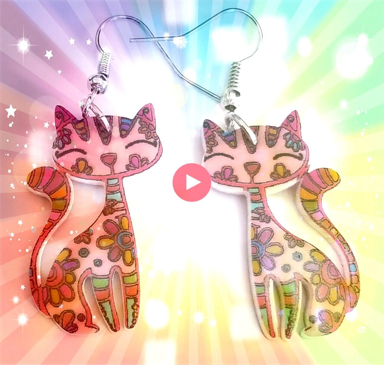 Cat Drop Hook Earrings Acrylic Dangle Multicolored Animal Jewelry  Cat Jewelry  Ideas of Cat JewelryKitty Cat Drop Hook Earrings Acrylic Dangle Multicolored Animal Jewelr...