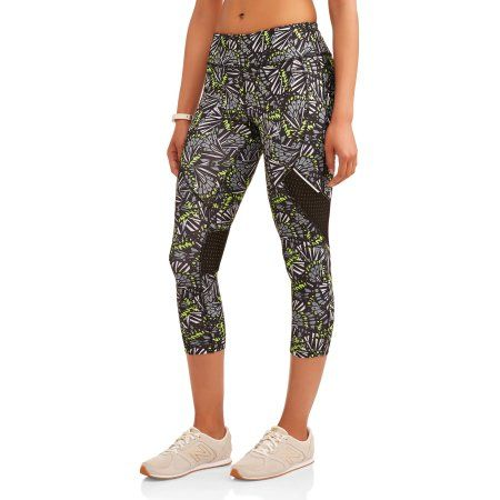 896806f401c585 Avia Women's Active Allover Print Performance Capri Legging with Mesh  Inserts, Size: Medium, Black