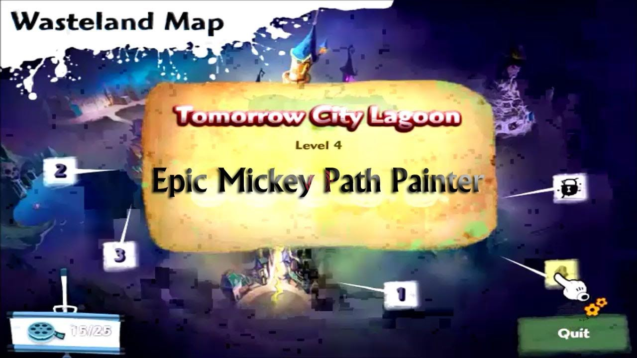 Epic Mickey Path Painter - Level 4 Tomorrow City Lagoon Gameplay - Disney Epic Mickey Games