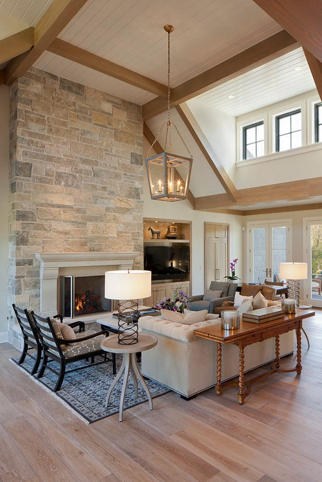 Ceiling Designs For Living Room Philippines: Living Room With Beamed Ceilings, A Brick Fireplace