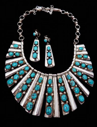 Vintage Huge Frank Patania Sterling Silver Turquoise Necklace Earrings Set