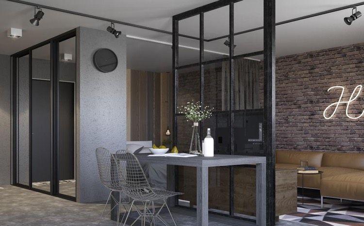 Wohnzimmer Industrial ~ Offene küche abtrennen wohnzimmer industrial stil loft ideas