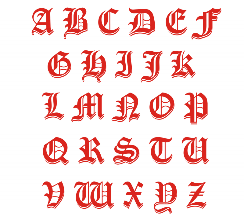 Sample Gothic Calligraphy Alphabet