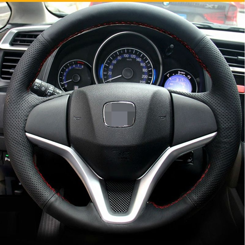Top Black Leather Hand-stitched Car Steering Wheel Cover for Honda Civic 2016