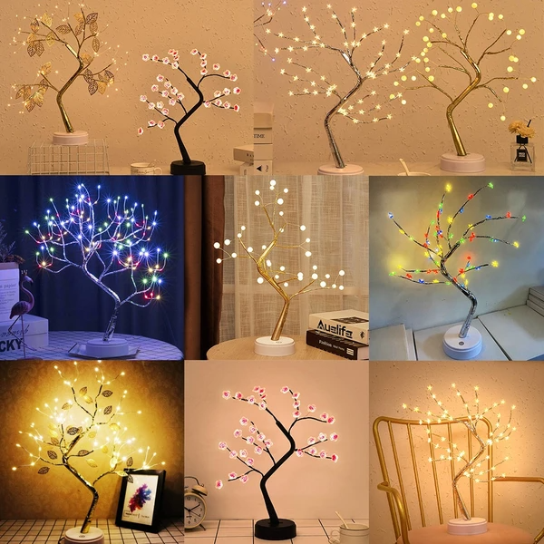 Led Usb Artificial Light Tree Lamp Touch Switch Tabletop Bonsai Tree Light In 2021 Tree Lamp Light Decorations Lamp Light