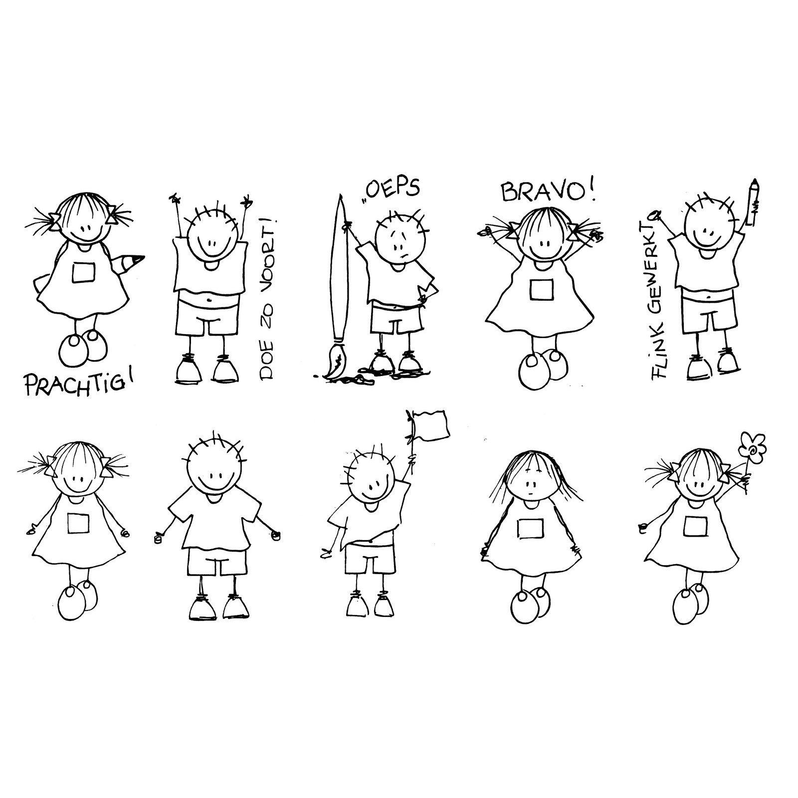 Set Beloningsstempels 10 Stuks Rube En Rutje Doodle Ideeen Eenvoudige Tekeningen Kind Tekening