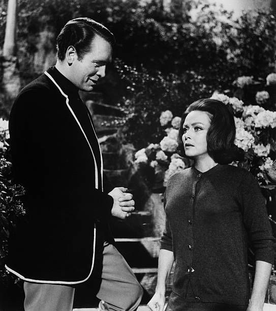Patrick McGoohan and Nadia Gray in a scene from the TV series The Prisoner in the episode 'The Chimes of Big Ben' McGoohan created and produced the...