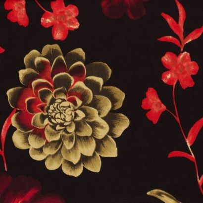 tissu jersey cristal fleur orange vert | moneta inspiration