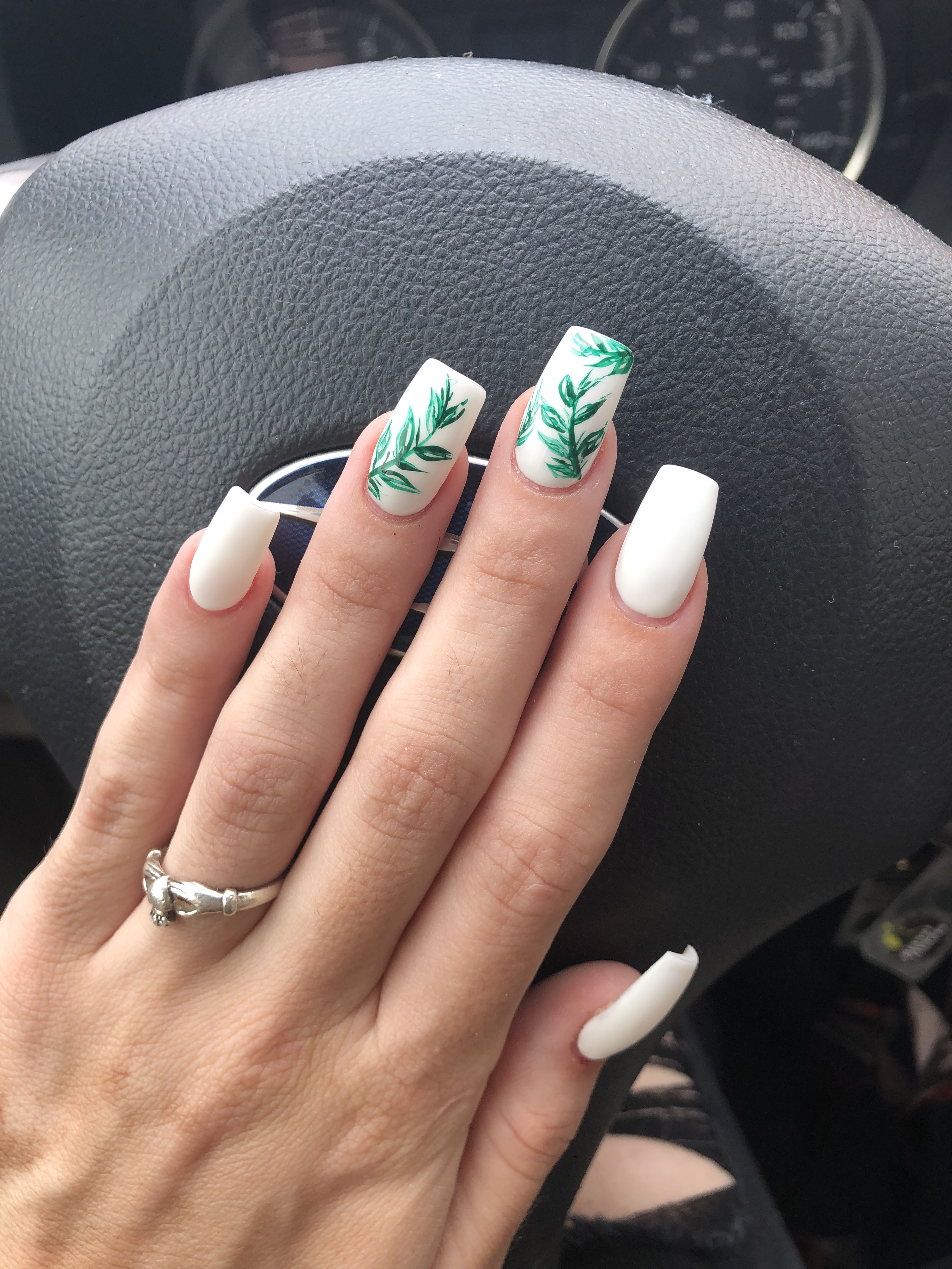 Summer 2019 Matte White Nails With Leaf Accents Green Nails White Acrylic Nails Green Nail Art
