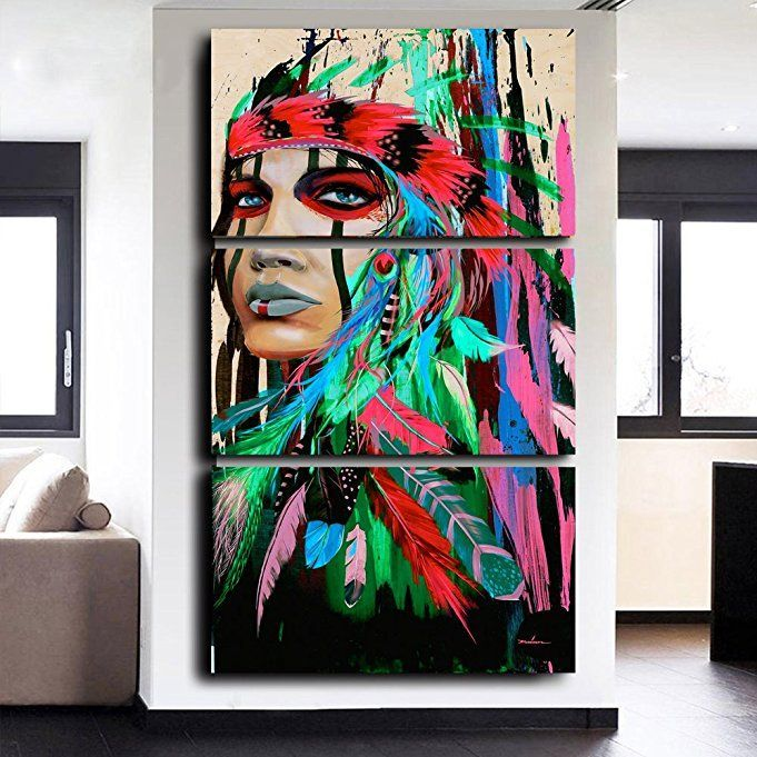 Amazon Indian Girl Chief Native American Painting Canvas Rhpinterestcouk: Native American Paintings For Living Room At Home Improvement Advice