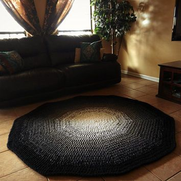 Black And White Ombre Gradient Crochet Round Rug EvaVillain