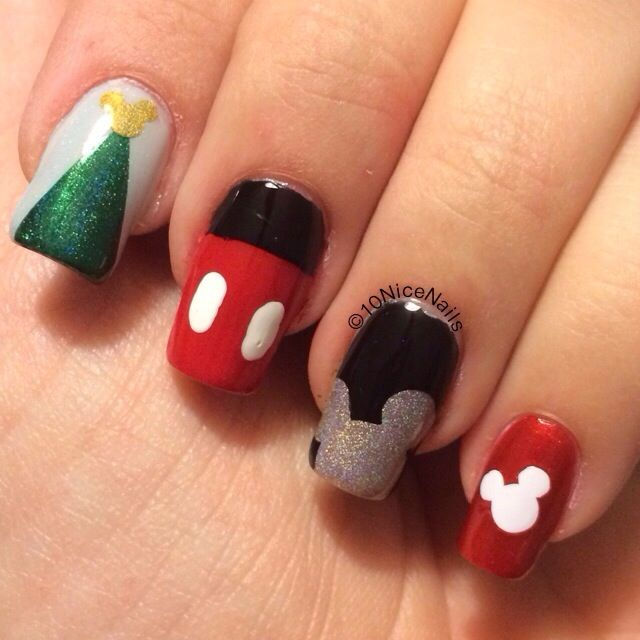 Of Mice and Nails. Disney Mickey Mouse nail art. Christmas. | Nail ...