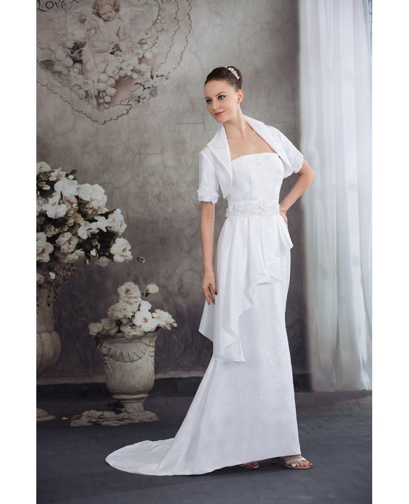 Taffeta Flowers Train Length Mature Wedding Dress with Jacket ...