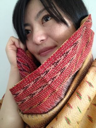 creamy skin colour and earthy, red tones in ikat  Upcycled, vintage sari scarf