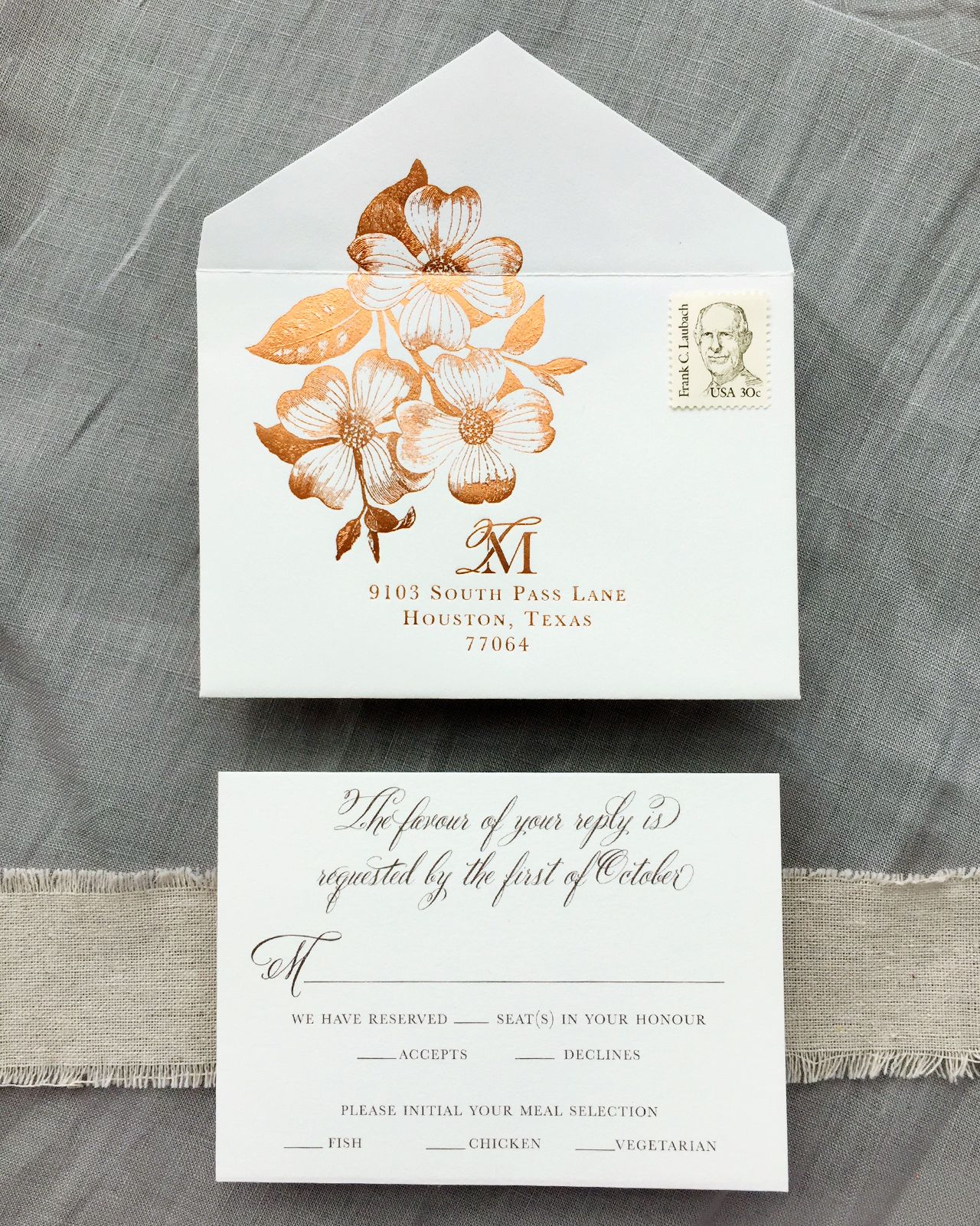 Autumn Floral Copper Foil Wedding Invitations | Weddings and Wedding