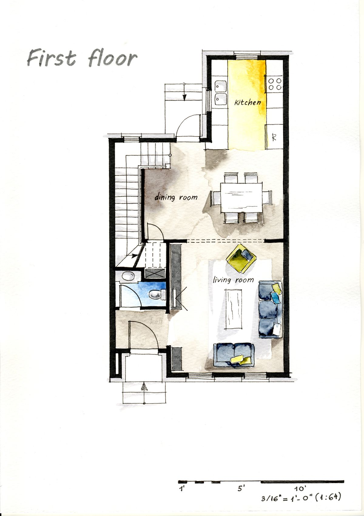 Drawing House Floor Plans: Real Estate Watercolor 2D Floor Plans Part 2 On Behance