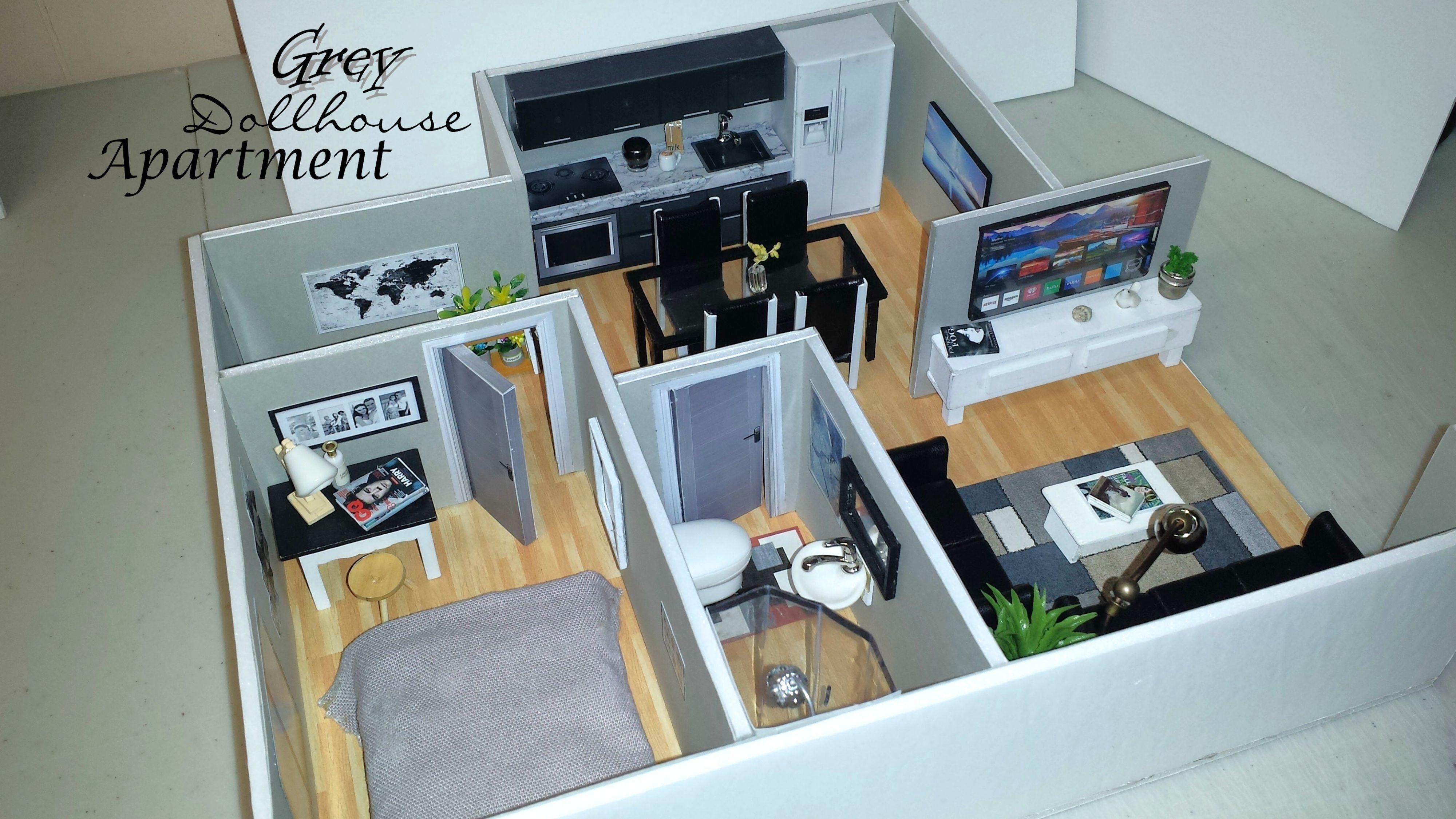 Diy miniature 112 scale modern grey dollhouse apartment