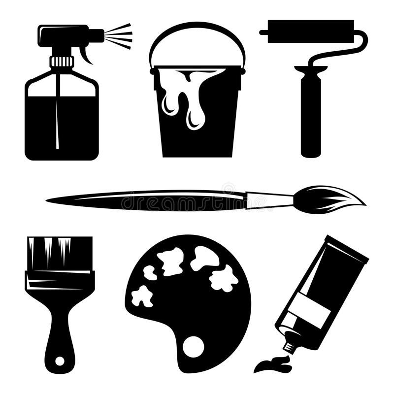 Paint Icons Set Of Silhouette Icons Of Paint And Painting Tools Ad Set Icons Paint Silhouette Tools Ad