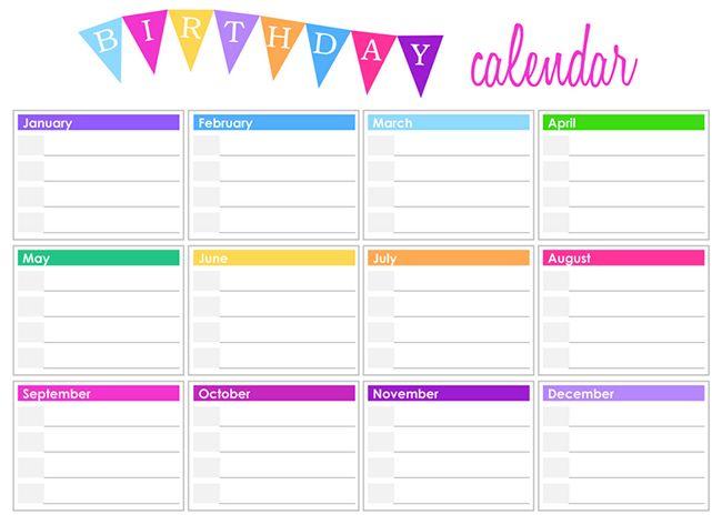 Birthday Calendar Template Organization Pinterest - birthday calendar template
