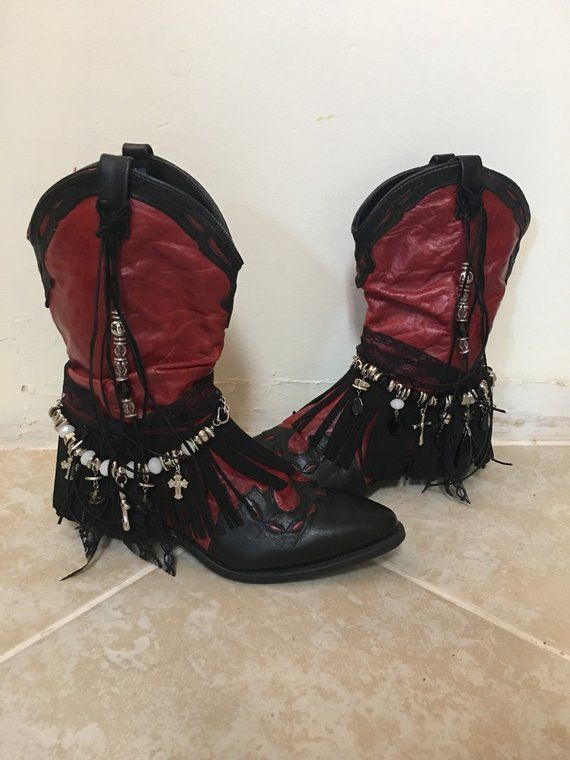 232973ad36a Black & Red Cowgirl Boots - UPCycled Cowboy Boots Size 7 - Black ...